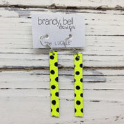 LUCILLE - Leather Earrings  ||  MATTE NEON YELLOW WITH BLACK POLKA DOTS