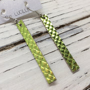 LUCILLE - Leather Earrings  ||  METALLIC GREEN COBRA