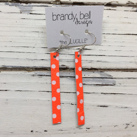 LUCILLE - Leather Earrings  ||  MATTE NEON ORANGE WITH WHITE POLKA DOTS