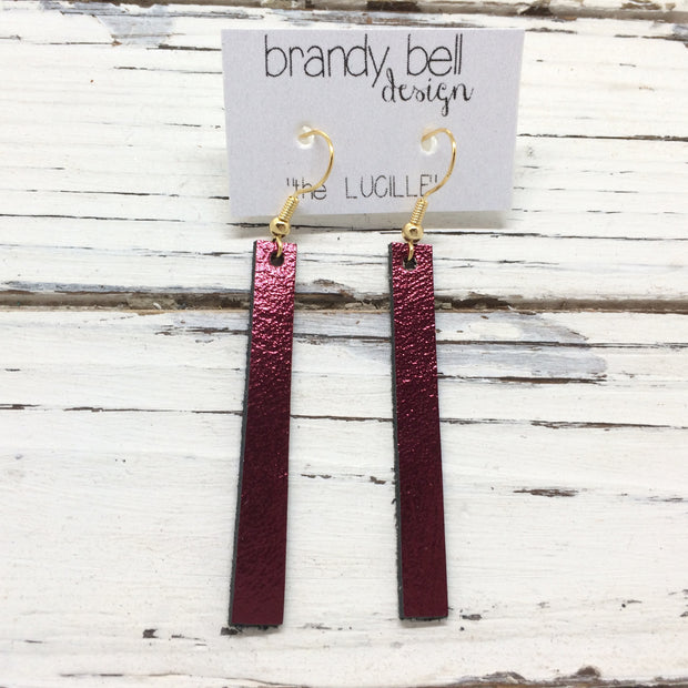 LUCILLE - Leather Earrings  ||  METALLIC CRANBERRY