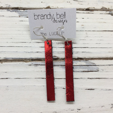 LUCILLE - Leather Earrings  ||  METALLIC RED