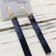 LUCILLE - Leather Earrings  ||  METALLIC NAVY