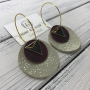 TRIXIE - Leather Earrings  ||    <BR> GOLD TRIANGLE, <BR> DISTRESSED MERLOT,  <BR> SHIMMER GOLD