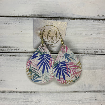 ZOEY (3 sizes available!) -  Leather Earrings  ||  MULTICOLOR PALM LEAVES ON WHITE  (CORK ON LEATHER)