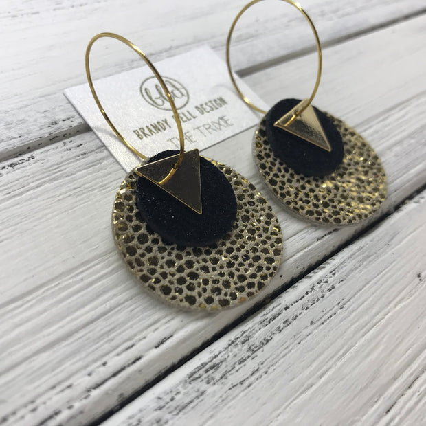 TRIXIE - Leather Earrings  ||    <BR> GOLD TRIANGLE, <BR> SHIMMER BLACK,  <BR> METALLIC GOLD DRIPS