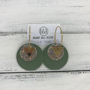 TRIXIE - Leather Earrings  ||    <BR> GOLD TRIANGLE, <BR> GLAMOUR GLITTER,  <BR> AVOCADO GREEN