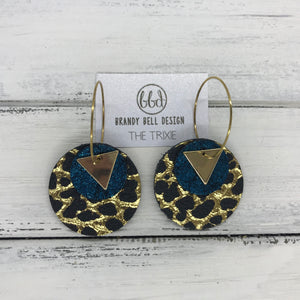 TRIXIE - Leather Earrings  ||    <BR> GOLD TRIANGLE, <BR> SHIMMER TEAL,  <BR> BLACK WITH METALLIC GOLD ACCENTS
