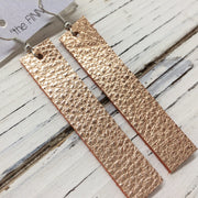 FINN - Leather Earrings  ||  METALLIC TEXTURE ROSE GOLD