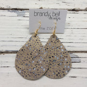 ZOEY (3 sizes available!) - Leather Earrings  ||  GOLD & IVORY STINGRAY DOTS