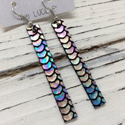 LUCILLE - Leather Earrings  ||  METALLIC MERMAID IN ANTIQUE MULTI BLUE/GREEN/PINK