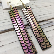 FINN - Leather Earrings  ||  METALLIC MERMAID IN PINK/GREEN