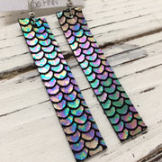 FINN - Leather Earrings  ||  METALLIC MERMAID IN ANTIQUE MULTI BLUE/GREEN/PINK