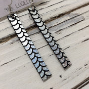 LUCILLE - Leather Earrings  ||  METALLIC MERMAID IN  HOLOGRAPHIC SILVER