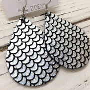 ZOEY (3 sizes available!) - Leather Earrings  ||  METALLIC MERMAID PRINT IN HOLOGRAPHIC SILVER