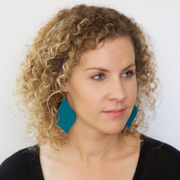 NOELLE - Leather Earrings  || MATTE ROBINS EGG BLUE/AQUA
