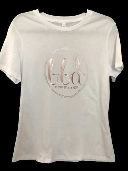 BBD T-Shirt | White/Rose Gold Relaxed Fit Ladies Tee