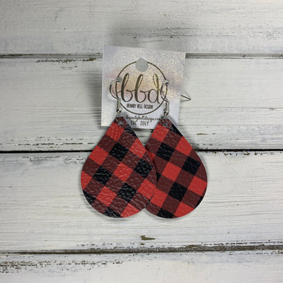 ZOEY (3 sizes available!) -  Leather Earrings  ||   PETITE BLACK & RED BUFFALO PLAID