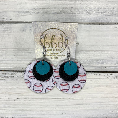 GRAY - Leather Earrings  ||    <BR> MATTE TEAL , <BR> SHIMMER BLACK,  <BR> BASEBALL (faux leather)