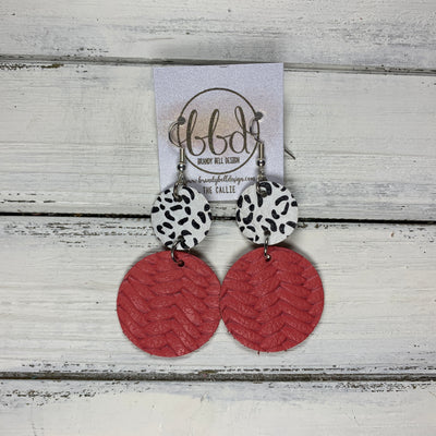 CALLIE -  Leather Earrings  ||  <BR> BLACK & WHITE CHEETAH, <BR> SALMON BRAIDED