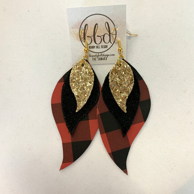 TAMARA - Leather Earrings  || GOLD GLITTER (faux leather), SHIMMER BLACK, BLACK & RED BUFFALO PLAID