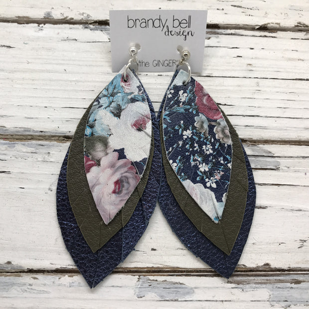 GINGER - Leather Earrings  || VINTAGE FLORAL, MATTE OLIVE GREEN, METALLIC TEXTURE NAVY