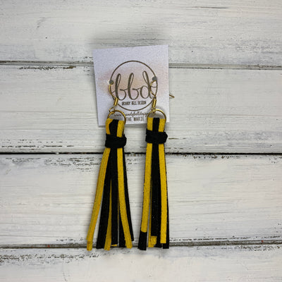MARIE - Faux Suede Tassel Earrings  || SUNFLOWER YELLOW / BLACK