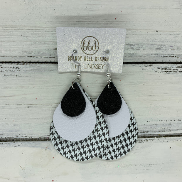 LINDSEY - Leather Earrings  || SHIMMER BLACK, MATTE WHITE, HOUNDSTOOTH PRINT