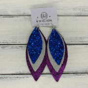 INDIA - Leather Earrings  ||  ROYAL BLUE GLITTER (FAUX LEATHER), SHIMMER SILVER, SHIMMER FUCHSIA