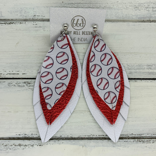 INDIA - Leather Earrings  ||   <BR> BASEBALL PATTERN (faux leather), <BR> METALLIC RED PEBBLED, <BR> MATTE WHITE