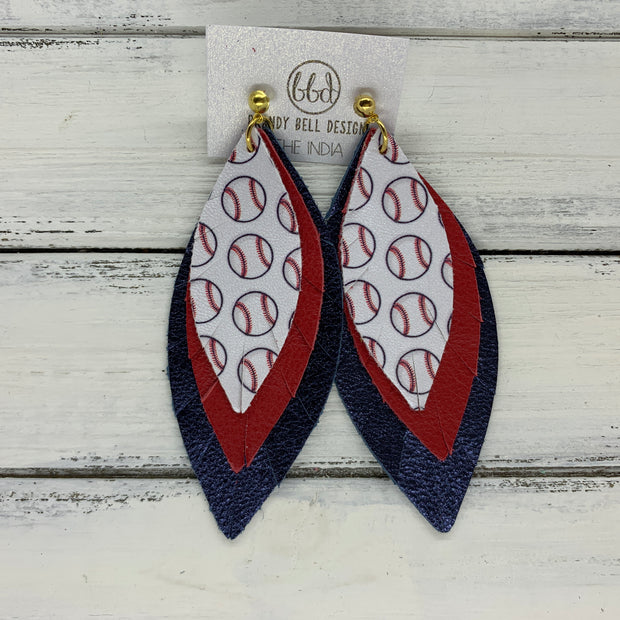 INDIA - Leather Earrings  ||   <BR> BASEBALL PATTERN (faux leather), <BR> MATTE RED, <BR> METALLIC NAVY PEBBLED