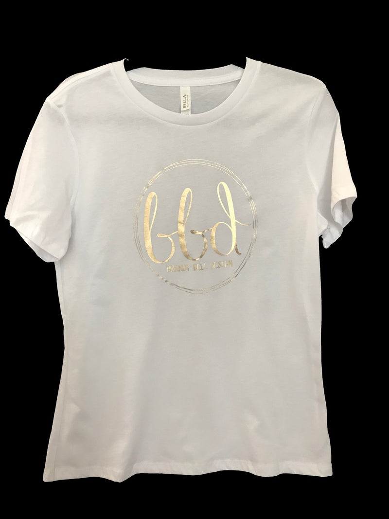 BBD T-Shirt | White/Gold Relaxed Fit Ladies Tee