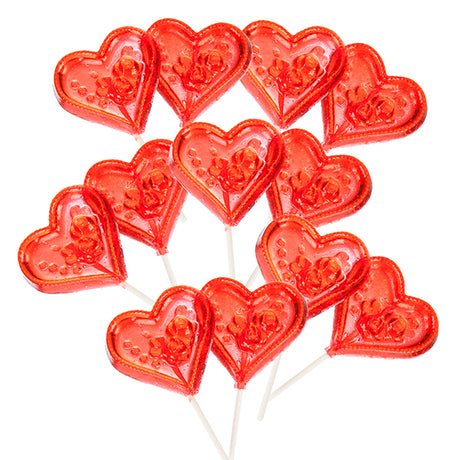 Clear Toy Lollipops, Large hearts /dozen