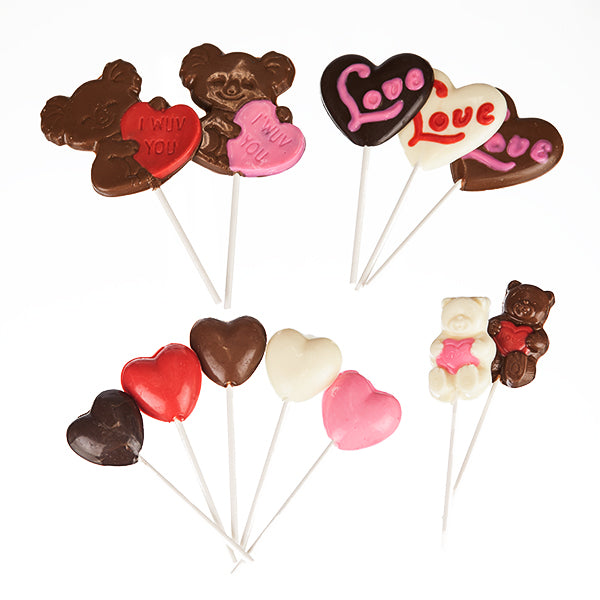 12 Assorted Chocolate Lollipops - Valentines Collection