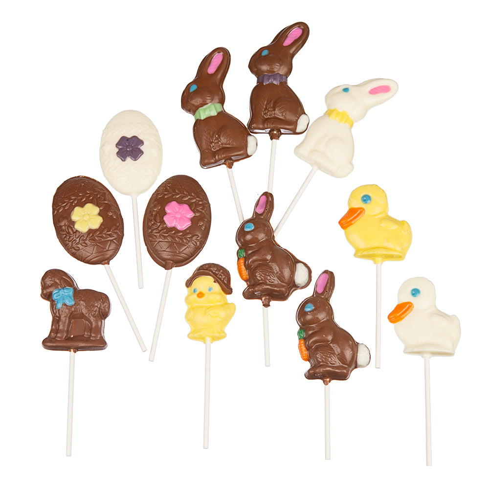 12 Assorted Chocolate Lollipops - Easter Collection