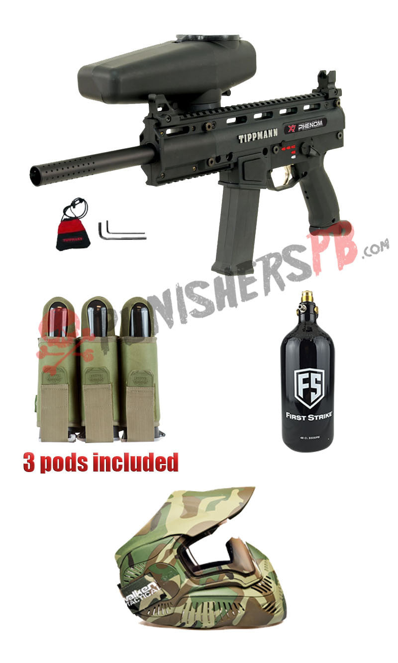 Tippmann Mechanical X7 Phenom Complete Paintball Gun Package