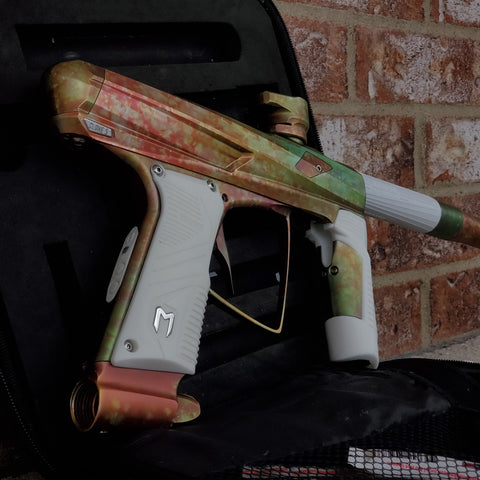 Used MacDev Clone 5 Paintball Gun - Red / Green Fire Fade