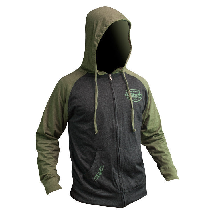 Hoody - V Tactical Stamp Zip - Charcoal/Army - Punishers Paintball
