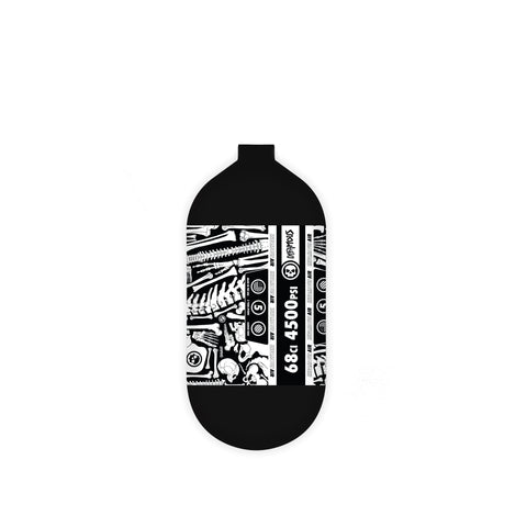 "INFAMOUS AIR ""BONES"" Paintball Tank - BOTTLE ONLY - Black/White - 68CI / 4500PSI"