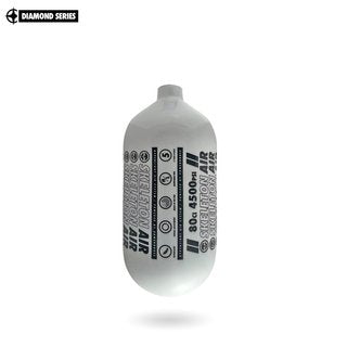"Infamous Skeleton Air ""Hyperlight"" Paintball Tank BOTTLE ONLY - Diamond Series - White / Black - Echo - 80/4500 PSI"