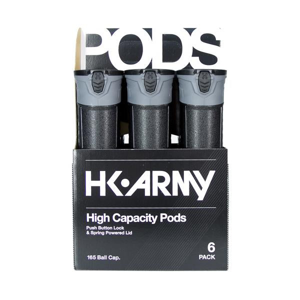 HK Army High Capacity 165 Round Pods- Black/Gray- 6 Pack