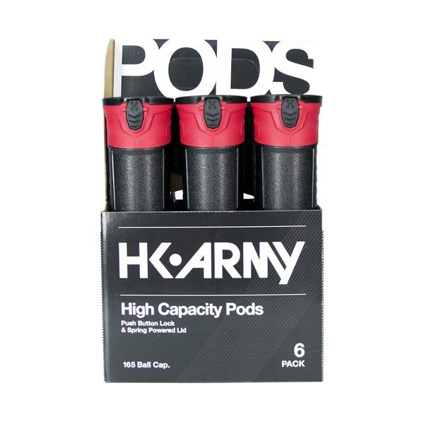 HK Army High Capacity 165 Round Pods- Black/Red- 6 Pack