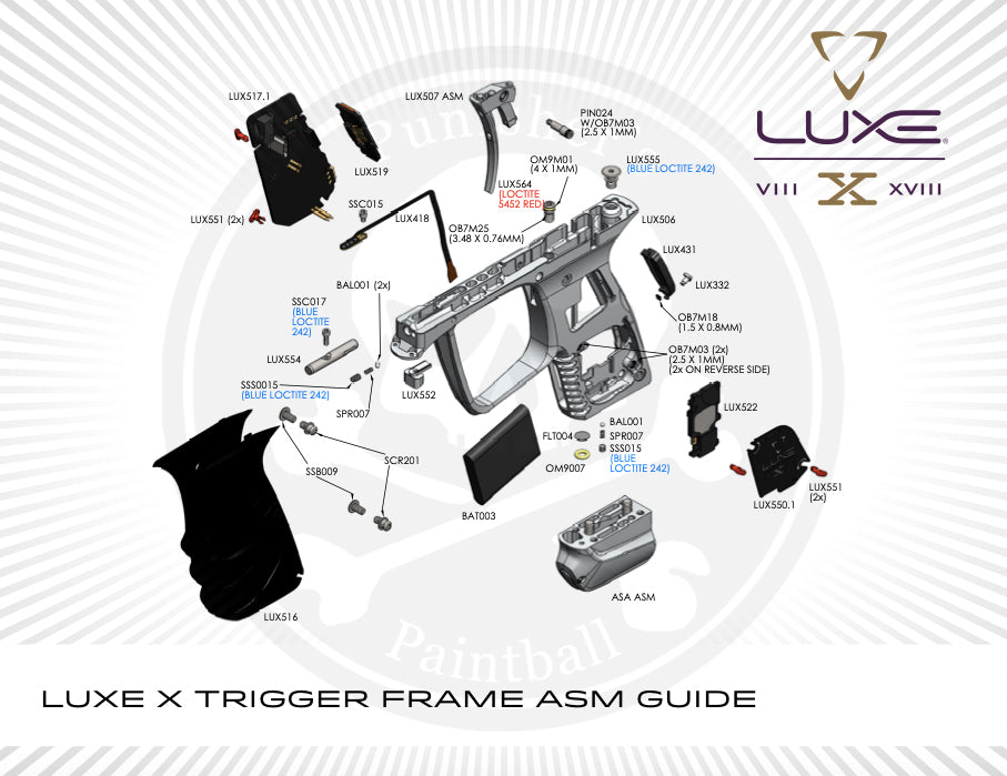 DLX Luxe X Trigger Frame System Parts Picker - Pick the Part You Need!