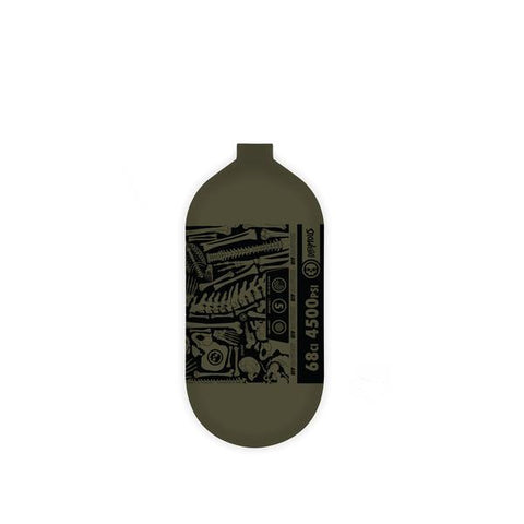 "INFAMOUS AIR ""BONES"" Paintball Tank - BOTTLE ONLY - Black/Olive - 68CI / 4500PSI"