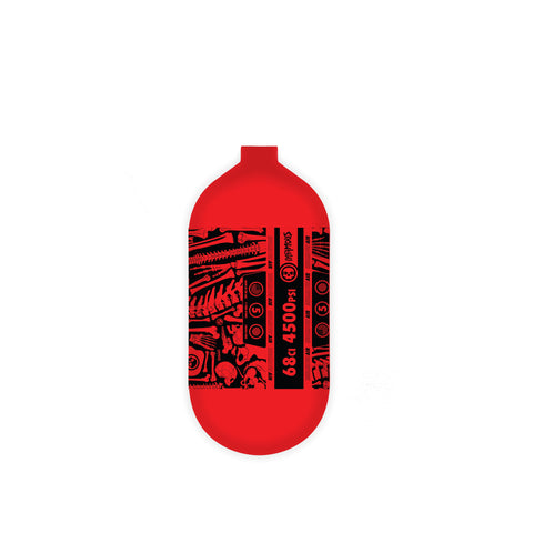 "INFAMOUS AIR ""BONES"" Paintball Tank - BOTTLE ONLY - Red/Black - 68CI / 4500PSI"