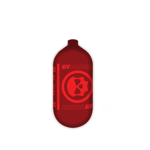 "Infamous Skeleton Air ""Hyperlight"" Paintball Tank BOTTLE ONLY - Red / Red - 80/4500 PSI"