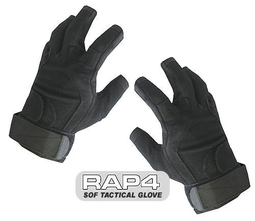 BLACK SOF Tactical Glove (Open Finger) - Punishers Paintball