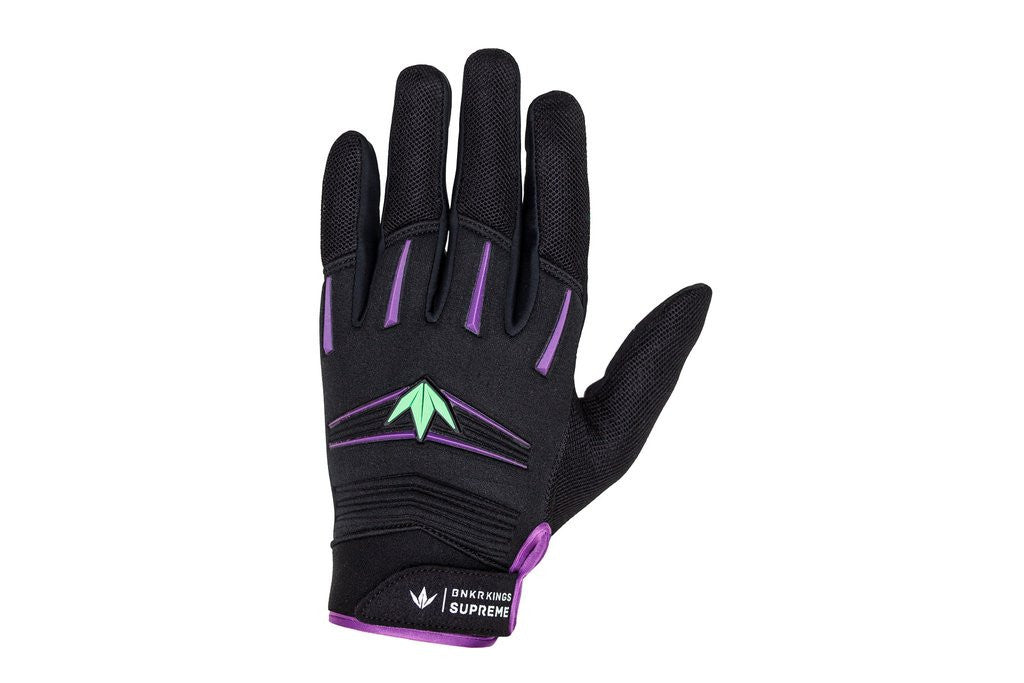BNKR Bunkerkings Supreme Paintball Gloves - Purple / Lime