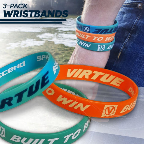 Virtue Paintball Wristband 3 Pack - Cyan/Aqua/Orange
