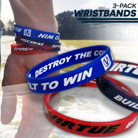Virtue Paintball Wristband 3 Pack - Red/White/Blue