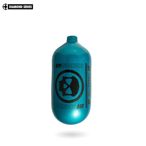 "Infamous Skeleton Air ""Hyperlight"" Paintball Tank BOTTLE ONLY - Diamond Series - Aqua / Black - 80/4500 PSI"